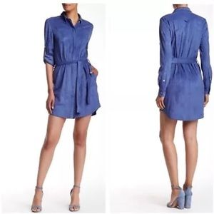 Halston Heritage Tied Shirt Dress China Faux Suede